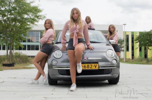 Danine met haar Fiat 500 Cabrio